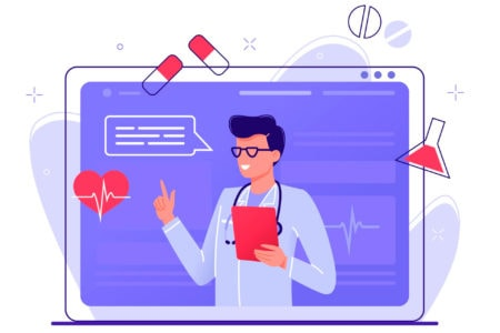 emr computer software shows healthcare communications